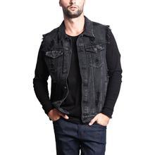 PLUSขนาดชายเสื้อแจ็คเก็ตผ้าฝ้าย 2020 VINTAGE Holeพู่DENIMเสื้อสีฟ้าสีดำOuterwear Rippedกระเป๋าเสื้อกั๊กฤดูร้อน