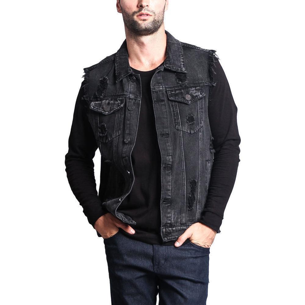Plus Size Men's Sleeveless Jacket Coat 2019 Vintage Hole Tassel Denim Vests Blue Black Outerwear Ripped Pocket Waistcoat Summer