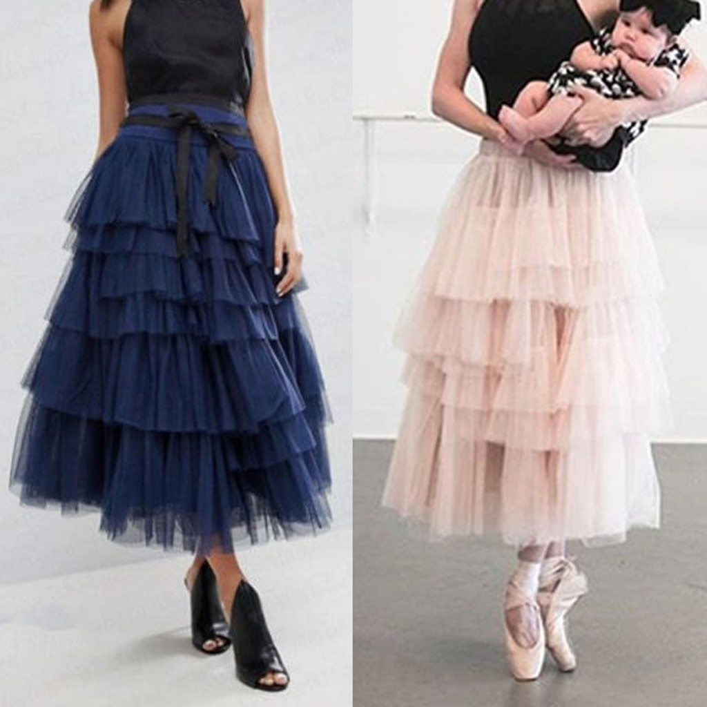 Multicolors 2019 Summer Skirts Women Tulle Skirt Vintage Colorful Tutu Petticoat Ball Gown SkirtMaxi Long Skirts   25