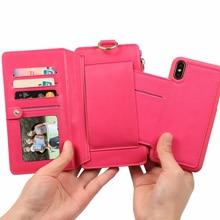 Для телефона х чехол роскошный Магнитный чехол противоударный отделения для карточек бумажник чехол Чехол для телефона телефон визитница