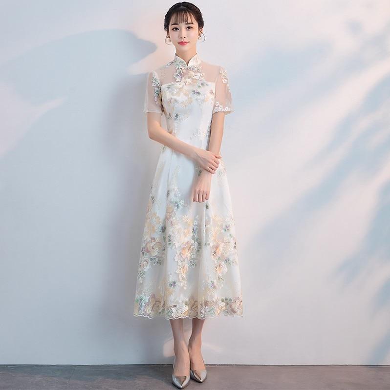 Современное китайское платье Qipao сексуальное Чонсам бежевые платья повседневные женские кружевные Традиционные вечерние платья Vestido восто...
