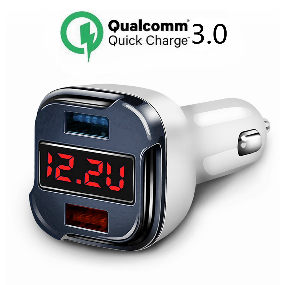 все цены на 12V/24V 4in1 Dual USB Qualcomm Quick Charge 3.0 Car Charger With Voltage Meter for Iphone 7 8 X Plus Samsung S7 S8 edge