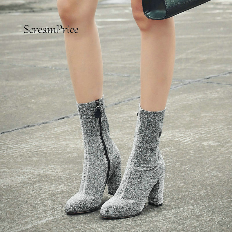 Women Side Zipper Thick High Heel Mid Calf Boots Fashion Pointed Toe Sequins Spring Stretch Boots Silver Black