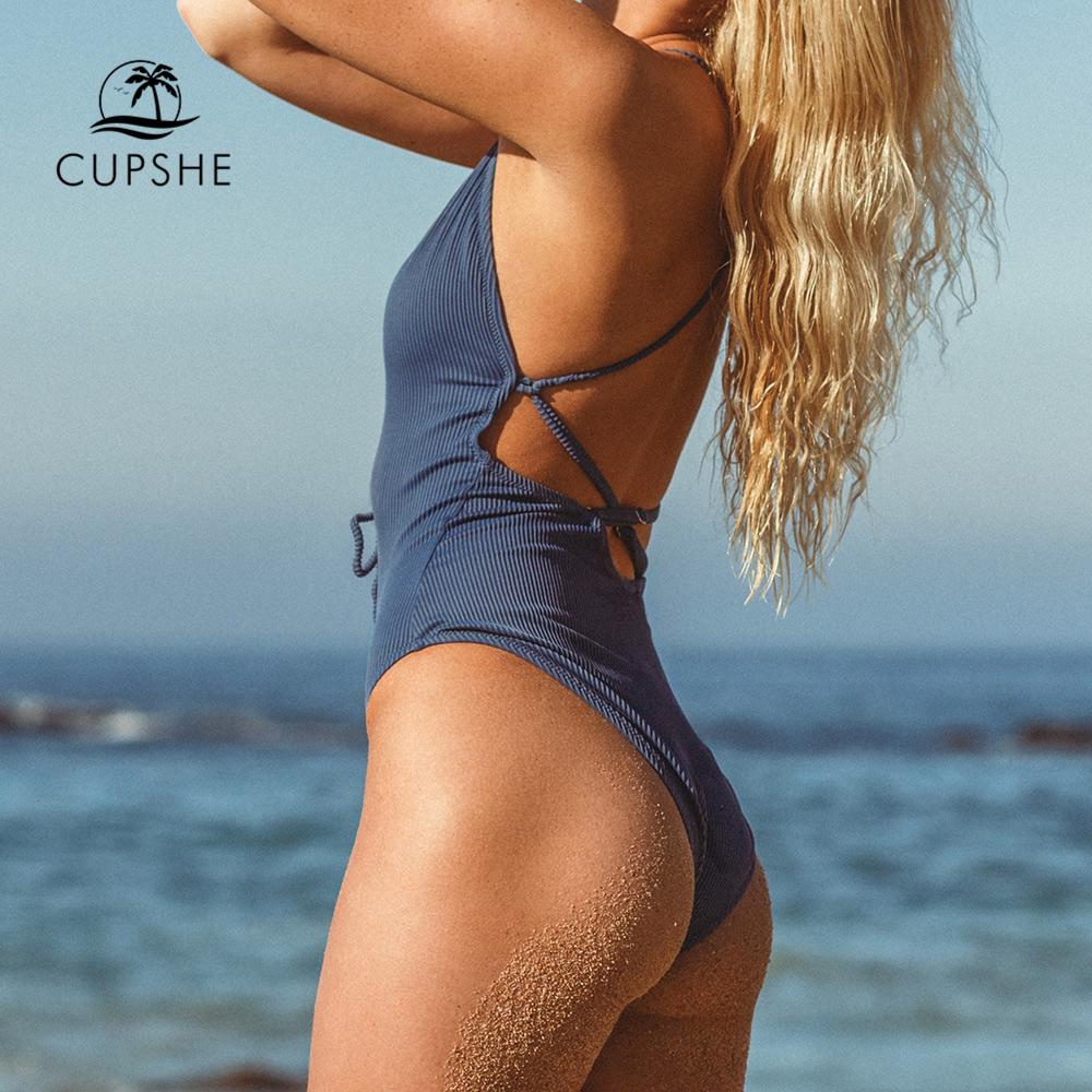 CUPSHE Remind Me Solid One-piece Swimsuit Women Backless Deep V neck Lace Up Sexy Bodysuits 2019 Beach Bathing Suit Swimwear 1