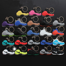 23Pcs/Lot Figure Toys Air Foamposite Keychain Silicone Pendant Sneaker Keychain Kids Key Rings Key Holder Llaveros Chaveiro Port