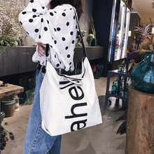 Female Canvas Tote Bag Concise Letter Printing Shoulder Cloth Bags Ladies Duty Shopping