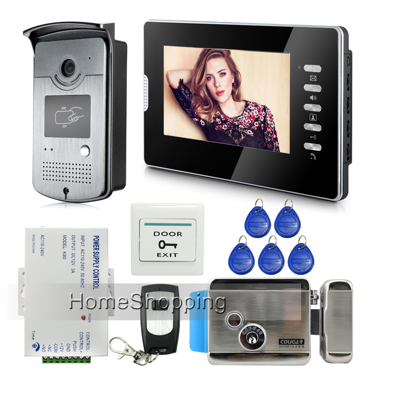 Wholesale Wired 7 inch Color Video Door Phone intercom System RFID Card Door Camera + Electric Door Lock IN Stock FREE SHIPPING ...