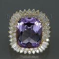 Fashion Diamond Jewelry Cushion Amethyst Ring 13x15mm 14kt Yellow Gold 9.80Ct  Wedding Rings for Women