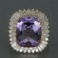Joyas de Diamantes de la moda Cojín 9.80Ct Anillo de Amatista 13x15mm 14kt Oro Amarillo Anillos de Boda para Las Mujeres