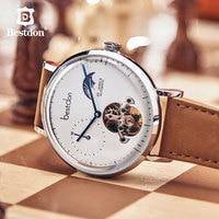 Bestdon Mechanical Watch Men Automatic Skeleton Fashion Transparent Stainless Steel Wristwatch Man Switzerland Luxury Brand New