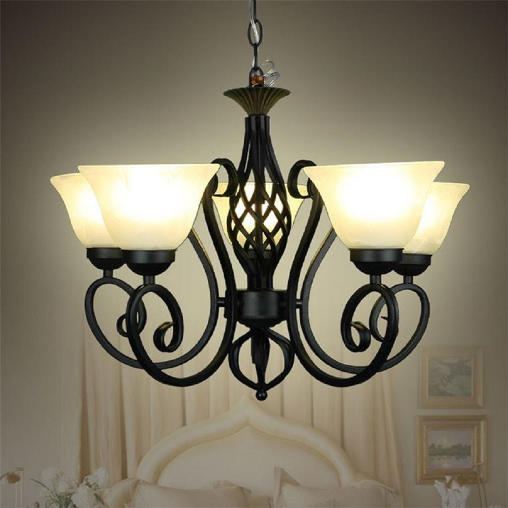 Us 110 0 Wrought Iron Pendant Lights Black Light Body Frosted Gl Lampshade Milky Vintage E27 Metal Hanging Lamp Fixture Res Led In