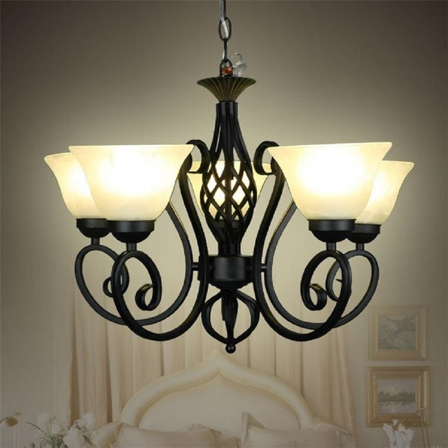 Wrought Iron Pendant Lights Black Light Body Frosted Gl Lampshade Milky Vintage E27 Metal Hanging