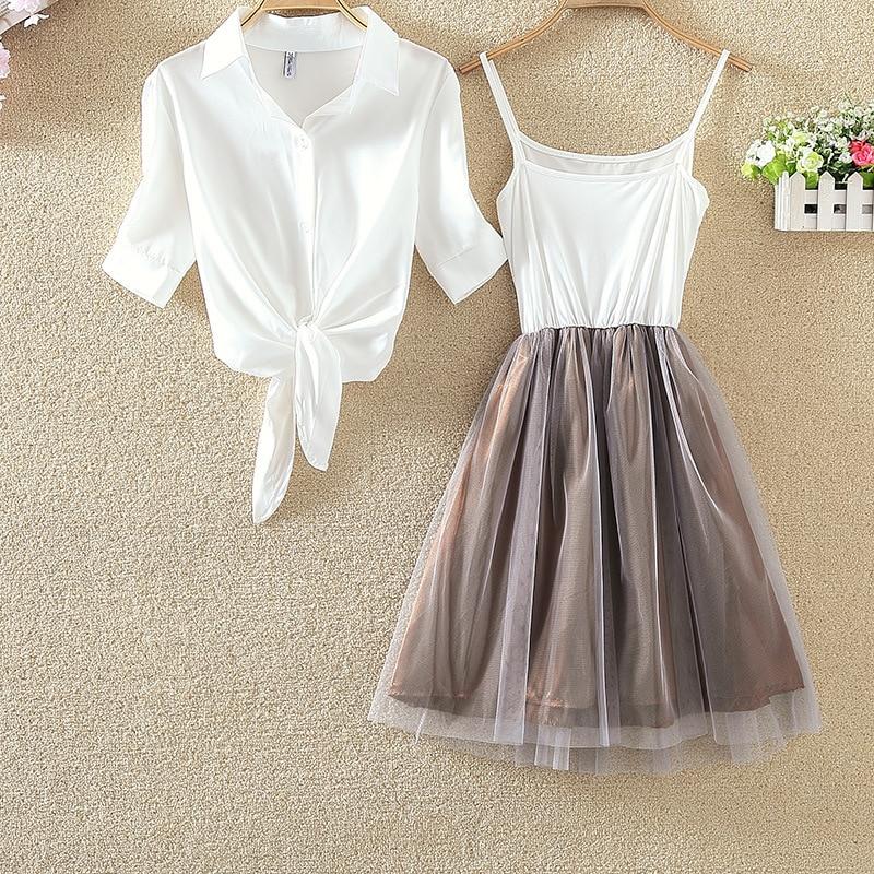 2 Pcs/Set Princess Midi Tulle Dress Women Lolita Bule White T-Shirt Spaghetti Strap Voile Dresses Casual Elegant Party Vestidos 5