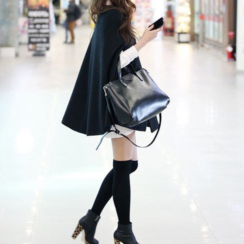 Women Loose Batwing Wool Poncho Winter Warm Coat Jacket Black Cloak Cape
