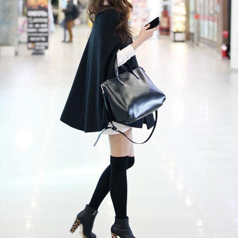 Women Loose Batwing Wool Poncho Winter Warm Coat Jacket Black Cloak Cape
