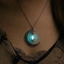 Crescent Moon Glow Necklace Custom Photo(China)
