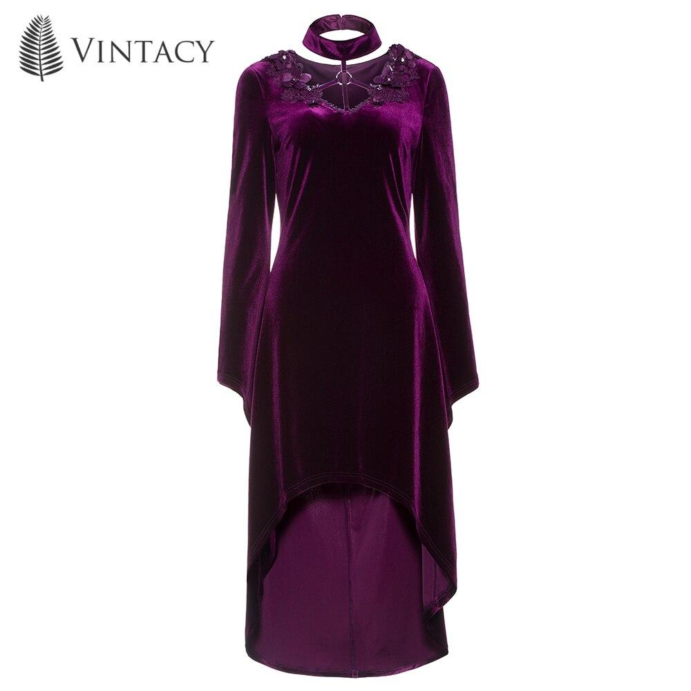 Women Vintage <font><b>Purple</b></font> <font><b>Dress</b></font> Velvet Appliques Pleuche Autumn Spring Party Flare Sleeve Plus Size Gothic Asymmetrical <font><b>Dresses</b></font>