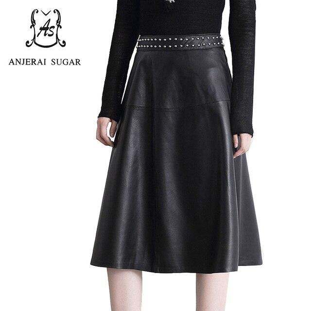 cfe94b594a5 Automne et hiver femmes véritable en peau de mouton en cuir longue jupe  slim couleur noire