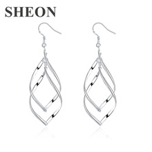 SHEON Double Plantain Shape Earrings Personalized Trendy Leaf Geometric Drop for Women Fashion Jewelry New Arrival