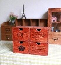 Zakka деревянные дерево четыре ящика шкафы для хранения Французские письма домой приема деревянные украшения