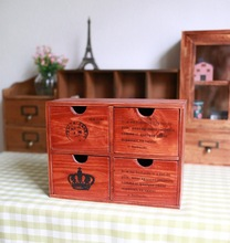 zakka wooden wood four drawer storage cabinets French letters home admission wooden ornaments