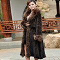 Winter Women's Genuine Knitted Mink Fur Coat Raccoon Fur Collar Lady Trench Overcoat Outerwear VF0358