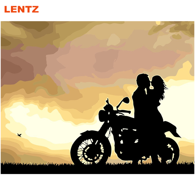 LENTZ Motorcycle Lover Painting Picture By Numbers DIY Abstract Oil ...