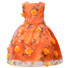 Flower Girls Dresses for Party and Wedding Floral Dress Kids Chiffon Flower+Cirrus Fashion Clothing Girls Favorite Chrismas Gift