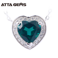 Emerald Sterling Silver Pendants Hearts Shape Created Emerald Lovely Romantic Style For Girls Summer Jewelry Birthday Gifts