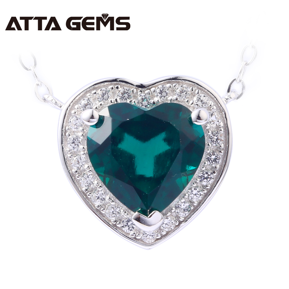 Emerald Sterling Silver Pendants Hearts Shape Created Emerald Lovely Romantic Style For Girls Summer Jewelry Birthday GiftsEmerald Sterling Silver Pendants Hearts Shape Created Emerald Lovely Romantic Style For Girls Summer Jewelry Birthday Gifts