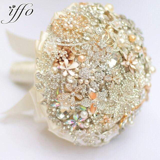 Silver Ivory Gold Brooch Bouquet Bridal Crystal Wedding Custom Made Vintage Bride