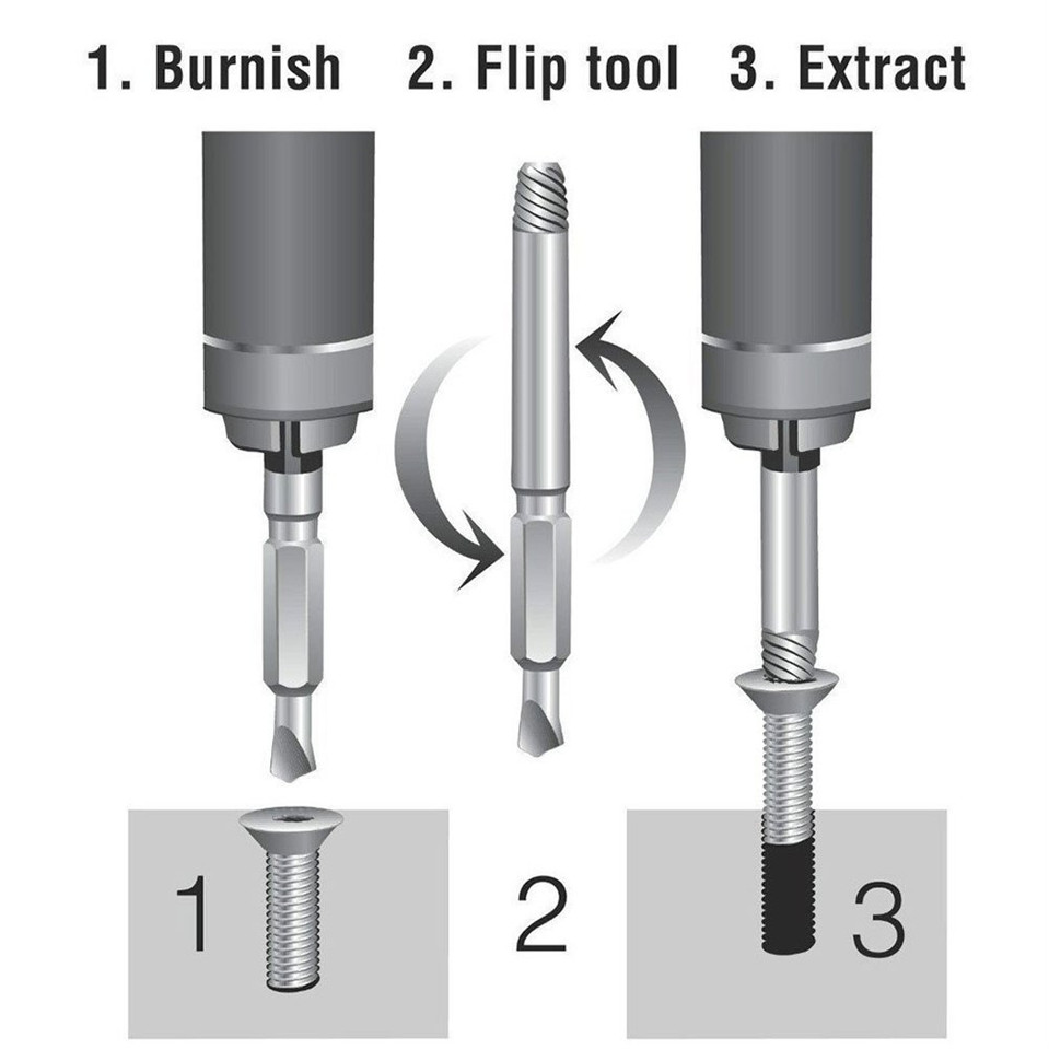 Image 5 - Original factory outlet 4pcs Screw Extractor Drill Bits Guide Set Broken Soeed Out Damaged Easy Out Bolt Stud Remover Tool-in Tool Parts from Tools