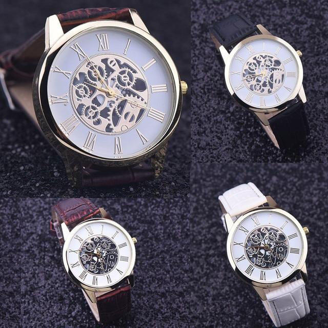 Men Watches Casual Rome Digital Leather Band Analog Dial Quartz Wrist Watch Quar