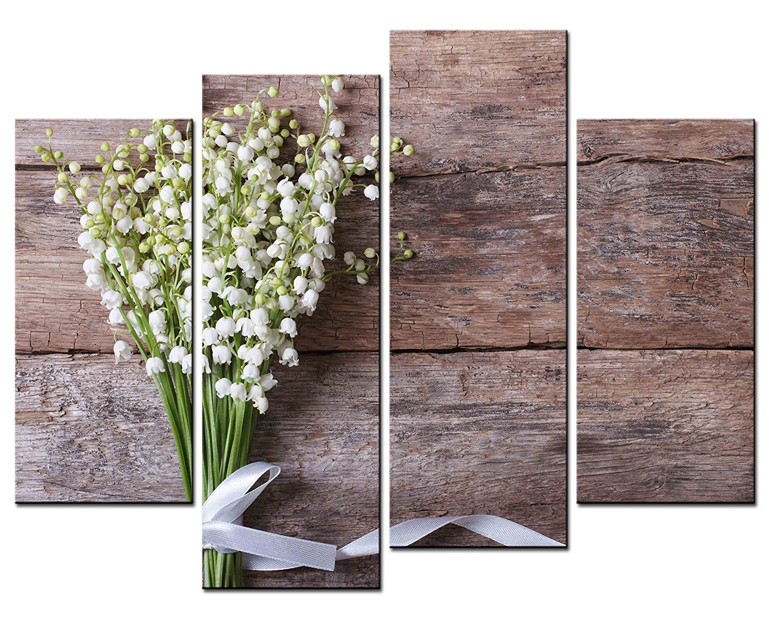 Flower Paintings Wall Art Lilies of the Valley on Wooden Background 4 Panel  Picture Print on - Compare Prices On Wood Panel Art- Online Shopping/Buy Low Price