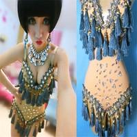 Costumes Ds Costume Dj Female Singer Tassel Pendant Rhinestone Bodysuit Bodycon Coveralls Roupa Feminina Singer Beyonce