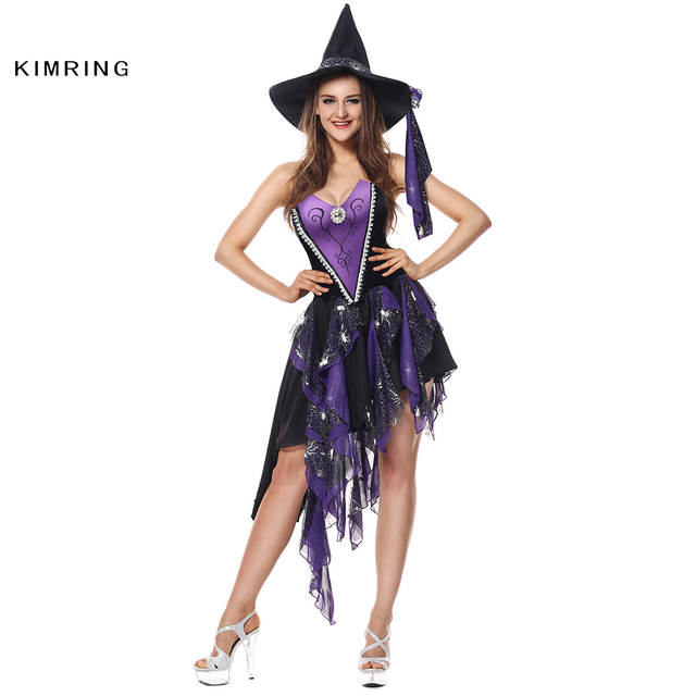 d3aacd340a Kimring Gothic Witch Halloween Sexy Costume Masquerade Magic Moment Cosplay Women  Purple Adult Witch Victorian Fancy