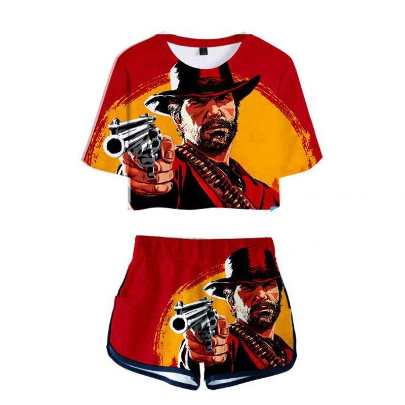 Casual Two Piece Set Women Red Dead Redemption 2 3D Printed Summer Short Sleeve Crop Top Shorts 2 Piece Set Women Matching Sets
