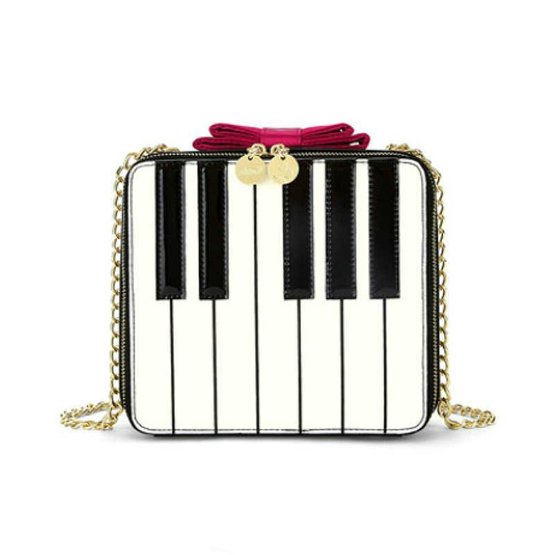 Kawaii Piano Padrão Arco Bonito Mini Bolsa de Ombro Saco Do Vintage Das Senhoras Das Mulheres Bolsa Famosa Marca Crossbody Sacos Do Mensageiro Móvel
