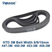 POWGE HTD 3M Зубчатый Ремень C = 447 450 453 456 ширина 6/9/15 мм зубцы 149 150 151 152 HTD3M синхронный 447 3M 450 3M 453 3M 456  3 м