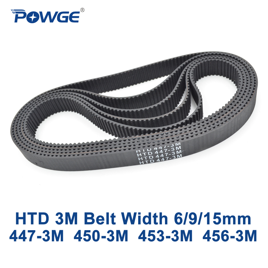 POWGE HTD 3M Timing belt C= 447 450 453 456 width 6/9/15mm Teeth 149 150 151 152 HTD3M synchronous 447-3M 450-3M 453-3M 456-3MPOWGE HTD 3M Timing belt C= 447 450 453 456 width 6/9/15mm Teeth 149 150 151 152 HTD3M synchronous 447-3M 450-3M 453-3M 456-3M