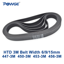 POWGE HTD 3M Timing belt C= 447 450 453 456 width 6/9/15mm Teeth 149 150 151 152 HTD3M synchronous 447 3M 450 3M 453 3M 456 3M