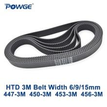 POWGE HTD 3M zamanlama kemeri C = 447 450 453 456 genişlik 6/9/15mm diş 149 150 151 152 HTD3M senkron 447 3M 450 3M 453 3M 456 3M