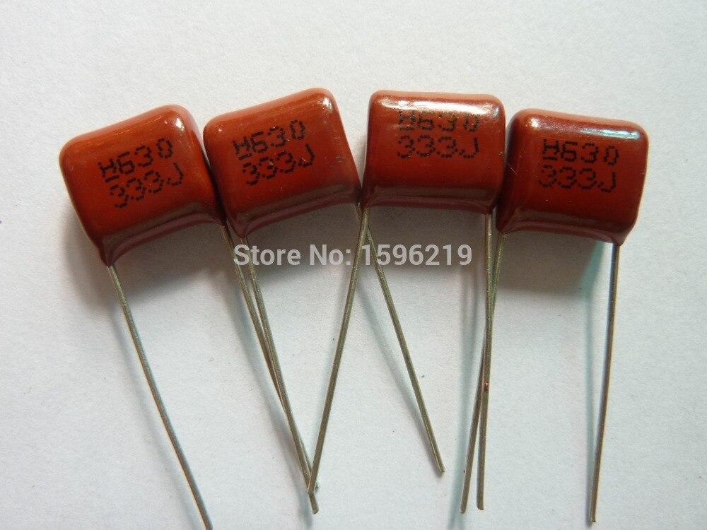 100pcs CBB 333 630V 333J CL21 0.033uF 33nF P10 Metallized Polypropylene Film Capacitor