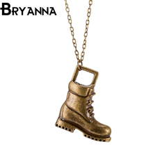 BRYANNA boho Promotion Sale Top 100 Handmade bronze Golden shoes Leather Necklace Men Women Fashion Jewelry