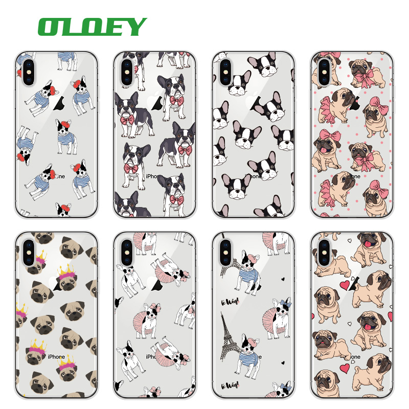 OLOEY Cute Puppy Pug Bunny Cat Princess Meow French Bulldog Soft Phone Case Funda For iPhone7Plus 6 6S 6Plus 8 8plus X Samsung