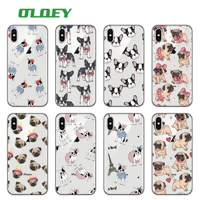 OLOEY Pug Filhote de Cachorro Bonito Do Gato Do Coelho Princesa Miau Buldogue Francês Macio Telefone Capa Funda Para iPhone7Plus 6 8 6 S 8 plus X XS Max Samsung