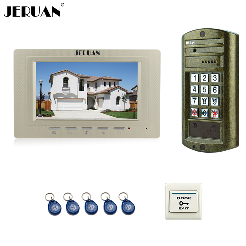 JERUAN Wired 7`` Color LCD Video Door Phone Intercom System kit Metal panel waterproof Access password keypad HD Mini Camera jeruan home 7 inch video door phone intercom system kit new metal waterproof access password keypad hd mini camera 2 monitor