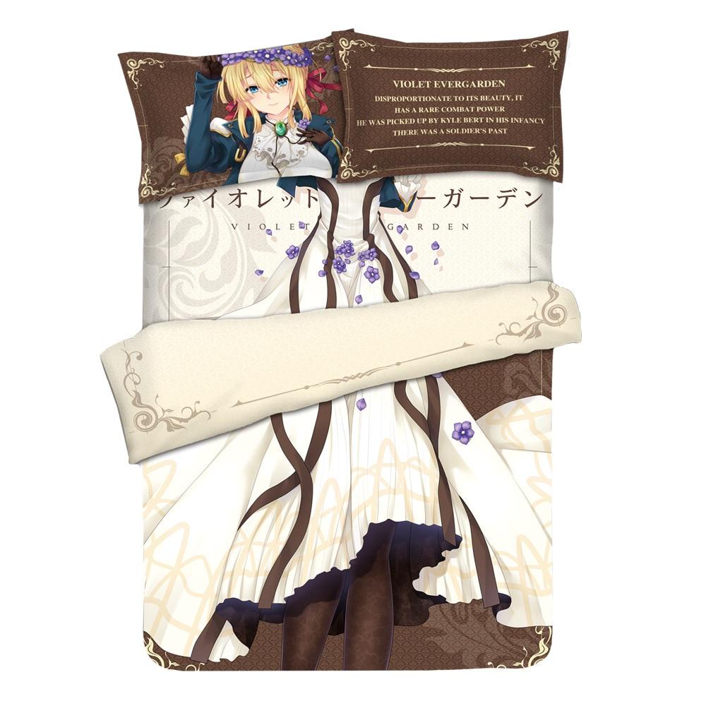 Anime Violet Evergarden Otaku Linge de lit Ensemble de Literie Drap ou Housse de Couette avec Deux taies d'oreiller