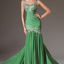 Зеленые Вечерние платья Русалка v-образным вырезом шифон Кружева спинки размера плюс длинное вечернее платье выпускного вечера платья Robe De Soiree