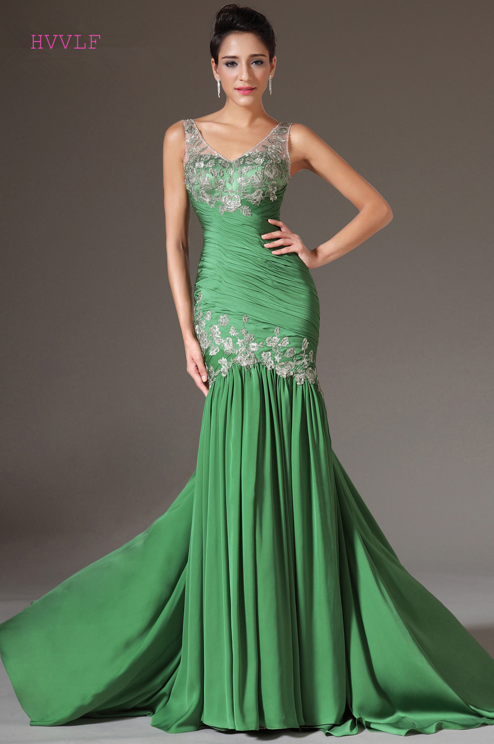 Green   Evening     Dresses   2019 Mermaid V-neck Chiffon Lace Backless Plus Size Long   Evening   Gown Prom   Dresses   Robe De Soiree